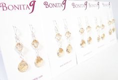 Champagne Teardrop Bridesmaids Earrings butter toffee by bonitaj
