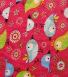 Retro Birdies Birds FLEECE Fabric by the Yard Craft by ByTheYard4U, $16.99