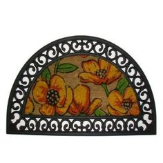 Imports Decor Half Round Rubber Door Mat with Decorated Coir Mat Insert, Poppy Design, 18-Inch by 30-Inch by Imports Décor. $43.99. Anti-skid and ideal for slippery areas. Coir mat insert has a contemporary design. Half round rubber doormat with coir mat insert. Measures 18-inch by 30-inch. Rubber mat is durable and retains a fresh look. Enhance the entrance of your home with this half round 100-percent rubber door mat with coir mat insert from Imports Decor. The rubber mat i...
