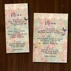 Rustic, Lace, Floral and Butterfly DIY Printable Wedding Menu