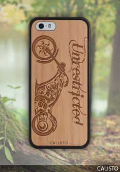 Chopper Motorbike Unrestricted Traveler Wood Case for iPhone 5 - 5s iPhone SE