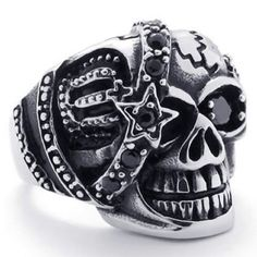 KONOV Jewelry Gothic Skull Cubic Zirconia Stainless Steel Men's Biker Ring, Silver Black (Available in Size 8, 9, 10, 11, 12, 13, 14): Jewelry (Note: The link is safe to visit.)