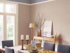 Neutral dining space with timber table and cream chairs and brown blanket on cushion bench plant Dining Room Colour Schemes, House Exterior Color Schemes, Dining Room Colors, Grey Wall Color, Wall Colors, Paint Colours, Grey Ceiling, Ceiling Height, Stripped Wall