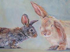 bunny rabbit art print CANVAS print of LA Shepard painting 12x16