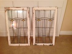 Pair Of Leaded stained glass windows - Large, matching- ?Old English-Art Deco?