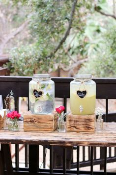 Pre-Ceremony Refreshments. Lavender Lemonade and Water infused with Lemons & Basil.