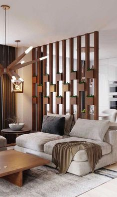 Wood Home Decor 2020 – What kind of wood is used for log homes? - Home Style Living Room Partition Design, Living Room Divider, Room Partition Designs, Home Living Room, Living Room Designs, Living Room Decor, Wood Partition, Drawing Room Interior, Modern Room