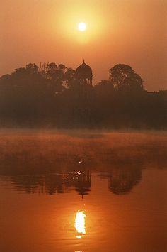 ॐ  Chhatri - Hindu architecture umbrella in a beautiful Indian sunset, Rajasthan, Indja 卐