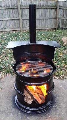 Reduce, reuse, recycle. Fire pits and grills made from old rims!