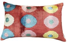 Perfect for adding color and pattern to any sofa, bed, or chair, this plush velvet pillow is crafted from fine silk with a bold ikat-inspired design. A feather-and-down fill ensures long-lasting loftiness. Solid back. Polka Dot Fabric, Polka Dots, Velvet Pillows, Throw Pillows, Lumbar Pillow, Sofa Bed, Ikat, Slipcovers, Colorful Interiors