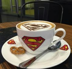 Morning beverage of choice? A super cappuccino! Superman DC comics Comic Books