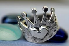 Crown Ring Heart in Sterling Silver by rockmyworldinc on Etsy, $99.99