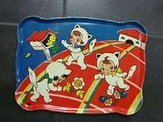 Vintage Ohio Art Tea Tray with Girls Dressed as Kitties. Like the commercial version of henry darger.