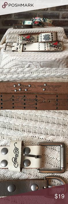 """Ed Hardy belts Ed Hardy belts the first one measures leather only not including the buckle 39.5 x 1"""" the second belt measures 37.5 x 1.5"""" Price includes both belts they have been worn but still have a lot of life left. Priced to sell Ed Hardy Accessories Belts"""