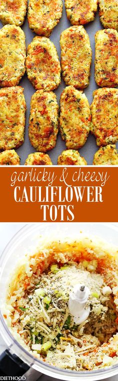 Garlicky & Cheesy Carrots and Cauliflower Tots - Baked, crispy, garlicky, and cheesy tots made of cauliflower and carrots. Side Dish Recipes, Vegetable Recipes, Low Carb Recipes, Vegetarian Recipes, Cooking Recipes, Healthy Recipes, Cheesy Cauliflower Tots, Cauliflower Recipes, Califlower Tots
