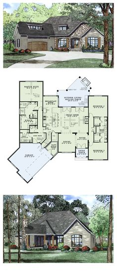 European House Plan 82166 | Total Living Area: 2408 sq. ft., 3 bedrooms & 2.5 bathrooms.