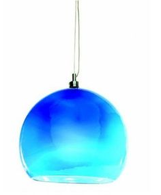 Large Blue Glass Halogen Pendant Light + Bulb + Transformer, AU-PMR141BLU   eBay