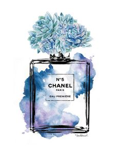 Chanel No5 print 8x10 blue with Succulent by hellomrmoon on Etsy