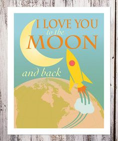 'I Love You to the Moon' Rocket Print