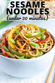 Sesame Noodles are tossed in a healthy Asian sesame sauce full of garlic, ginger, sesame oil, and Tamari and then loaded with bell peppers. This easy gluten-free dinner recipe can be ready and on the table in under 30 minutes! Healthy Salmon Recipes, Healthy Dinner Recipes, Asian Recipes, Vegan Meals, Seafood Recipes, Gluten Free Recipes For Dinner, Lunch Recipes, Cooking Recipes, Keto Recipes