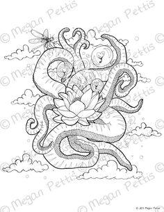 Tentacular Lotus Printable Adult Coloring Book Page Digital File Instant Download Nature And