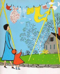"""One Step, Two…"" de Charlotte Zolotow, illustré par Roger Duvoisin. / I love this illustration"