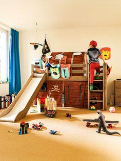 Micasa Kinderzimmer mit Halbhochbett, terra (individuell zusammenstellbar) und Betttaschen aus dem Programm FLEXA
