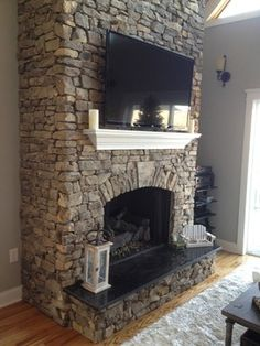 Eclectic Fireplaces Fireplace Tv, I really like the floating shelf! - Home Professional Decoration Fireplace Shelves, Home Fireplace, Fireplace Remodel, Fireplace Design, Fireplace Outdoor, Wall Shelves, Fireplace Candles, Mantle Shelf, Library Shelves