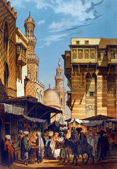 A street in Cairo 1862  By Preziosi, Amedeo - Maltese , 1816 -1882  From SOUVENIR DU CAIRE. PARIS LEMERCIER, 1862 Preziosi visited Cairo in 1862 and the colourful views here depict street scenes and local inhabitants in the city and along the Nile.