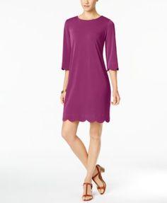 NY Collection Petite Scalloped Sheath Dress | macys.com