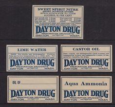Centerpiece inspirations #steampunk #apothecary USA Late 1900's Pharmacy Product Labels Dayton Drug Dayton Washington | eBay
