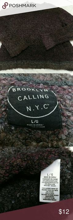 Cozy sweater, Brooklyn Calling N.Y.C., Size L Brooklyn calling N.Y.C. Size large In good condition Comfy cozy sweater purple and gray color. Great for lazy days. Brooklyn Calling N.Y.C. Sweaters Crew & Scoop Necks