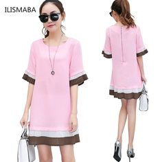 >> Click to Buy << ILISMABA 2017 new arrival women fashion sexy summer dress stitching round neck black pink pleated A-line chiffon dress women 3XL #Affiliate