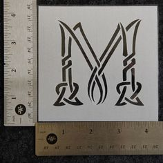 "Celtic Knot Stencil Letter ""M"", 4-1/4"" x 4-1/4"", 7 mil - AL014 by MonsterWurkz on Etsy"