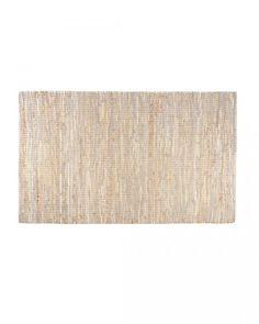 Madras Leather Hemp Rug Natural, 90 x 150 cm