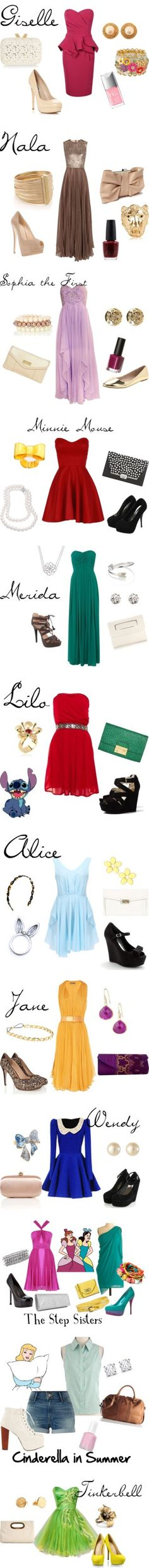 """""""Modern Princess"""" Lilo, Alice, Jane, and Cinderella (those high-waist shorts and sleeve-less button-up...LOVE) are great for summer"""