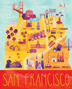 """Illustriert von San Francisco anzeigen, 16 """"x 20"""", Digitaldruck"""
