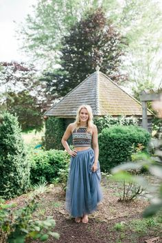 Perfect Tulle Skirt-  Dusky Blue -Long