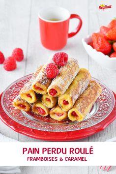 French Toast Roll Ups ou pain perdu roulé. Un dessert moelleux, croustillant, le pain perdu est farci avec des framboises et du caramel. Une recette très simple à réaliser, à cuisiner avec les enfants #painperdu #oaindemie #caramel #dessert #framboise #laitenpoudre #recettefacile #recetterapide #faitmaison #souriezregilait Caramel, Nouvel An, Cereal, French Toast, Fruit, Breakfast, Desserts, Food, Drizzle Cake