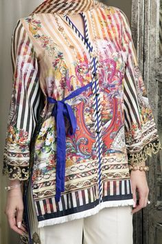 High Low Shirt With Belt And Band Collar Paired With Pleated Bell Bottoms And Chiffon Dupatta. Stylish Dress Book, Stylish Dresses For Girls, Frocks For Girls, Pakistani Fashion Casual, Pakistani Dresses Casual, Pakistani Dress Design, Kurti Neck Designs, Dress Neck Designs, Kurti Designs Party Wear