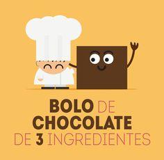 Animação receita: Bolo de chocolate de 3 ingredientes. Lembra muito um Brownie, é muito fácil e rápido de preparar. Ingredientes: Chocolate amargo, farinha de trigo e ovo