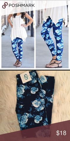Blue/Teal Floral print leggings Blue/Teal Floral print leggings                                   92% polyester 8% spandex.                                           One Size (Fits size 2-12 comfortably) Infinity Raine Pants Leggings