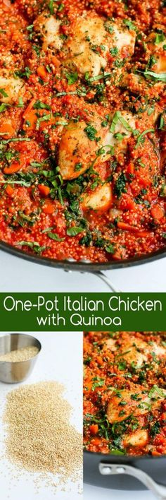 In this easy recipe, Italian flavored chicken, quinoa and tomato sauce come together in one pot for a healthy meal with minimal clean-up. 264 calories and 5 Weight Watchers Freestyle SP