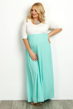 Mint-Green-Chiffon-Colorblock-Plus-Size-Maxi-Dress