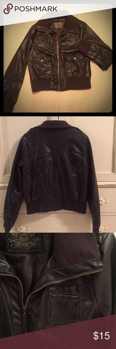 Dark Brown Faux-Leather Jacket Pink Soup Culture dark brown faux-leather jacket. Lightly worn. Size medium. Pink Soup Culture Jackets & Coats Utility Jackets