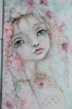 original child girl angel roses floral ooak  painting by fadedwest,
