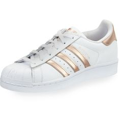 Adidas Superstar Original Fashion Sneaker ($80) ❤ liked on Polyvore featuring shoes, sneakers, leather lace up flats, laced flats, leather shoes, leather sneakers and striped flats