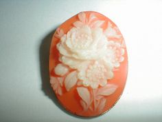 cameo pin vintage carved hard plastic by qualityvintagejewels, $22.00