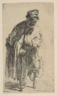 Beggar with a Wooden Leg Rembrandt (Rembrandt van Rijn) (Dutch, Leiden Amsterdam) Date: ca. 1630 Medium: Etching Classification: Prints Credit Line: Gift of Felix M. Warburg and his family, The Morgan Library & Museum Rembrandt Etchings, Rembrandt Drawings, Rembrandt Art, Life Drawing, Painting & Drawing, Leg Painting, Dutch Painters, Art Moderne, Gravure