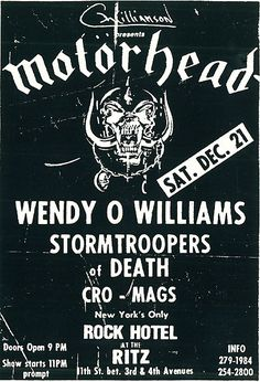 GigPosters.com - Motorhead - Wendy O Williams - Stormtroopers Of Death - Cro-mags